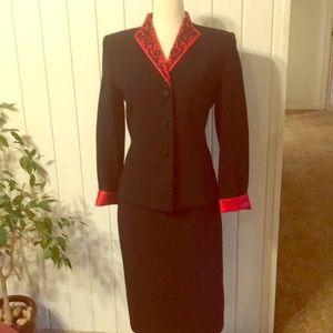 Amazing black & red beaded jacket & skirt set